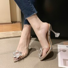 Summer 2020 New Women Sandals High Heel Shoes Woman Gladiator Fashion Crystal Slip-On Clear Heel Plus Size 35-42 Ladies Shoes