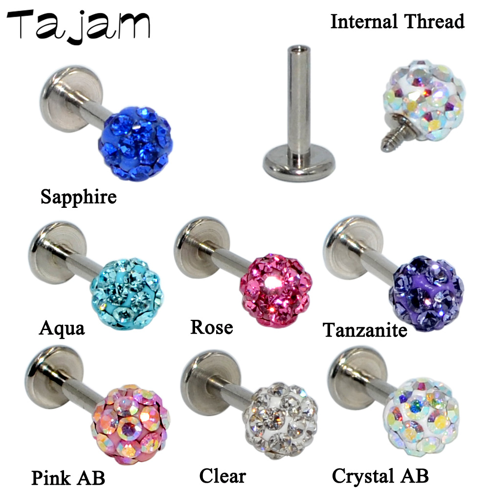 conch earring 1pc 16g Cubic Glass Ball Ferido cartilage earring labret studs