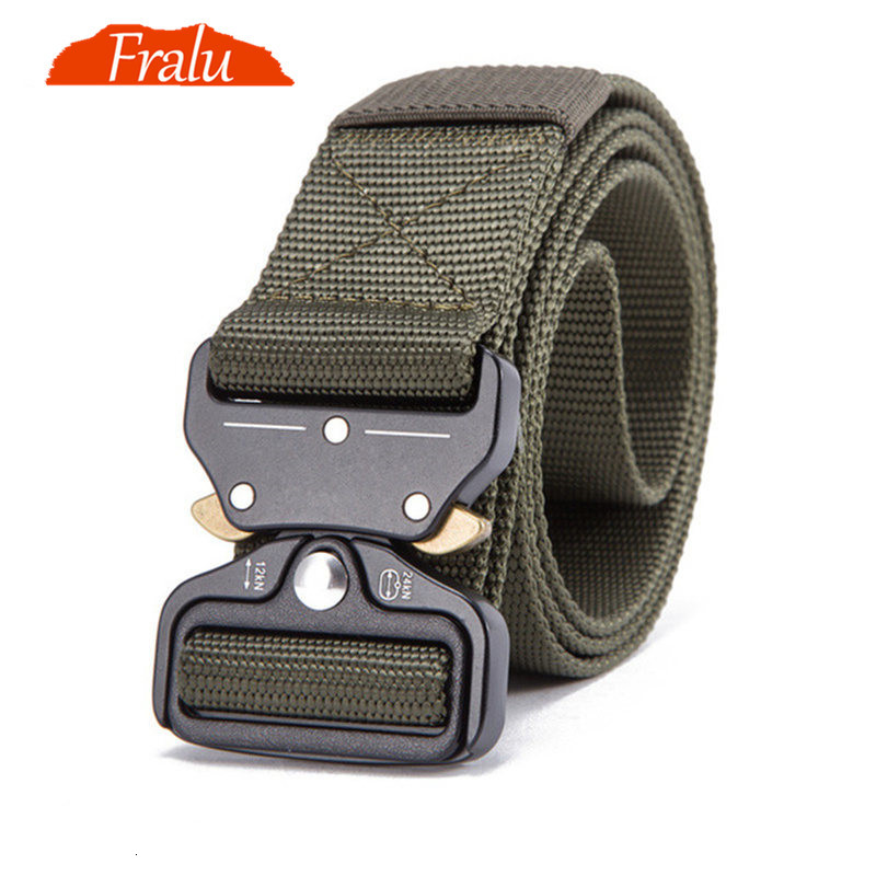 FRALU Military Equipment Knock Off Army Belt Men's Heavy Duty US Soldier Combat Tactical Belts Sturdy 100% Nylon Waistband