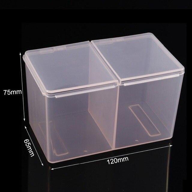 Monja Nail Art Rectangle Translucent Plastic Storage Box Nail Dotting Drawing Brush Pen Polishing Sponge Buffer Container Case 4
