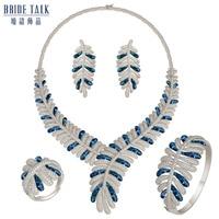 Bride Talk 4PCS Luxury sets New Arrival Middle East Cubic Zircon Broken shells Earrings Necklace Wedding & engagement jewelry