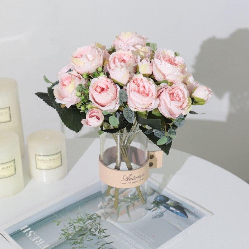 Nuovo 1 Bouquet 9 teste fiori artificiali peonia tè rosa seta fiori finti per soggiorno fai da te giardino domestico decorazione della festa nuziale