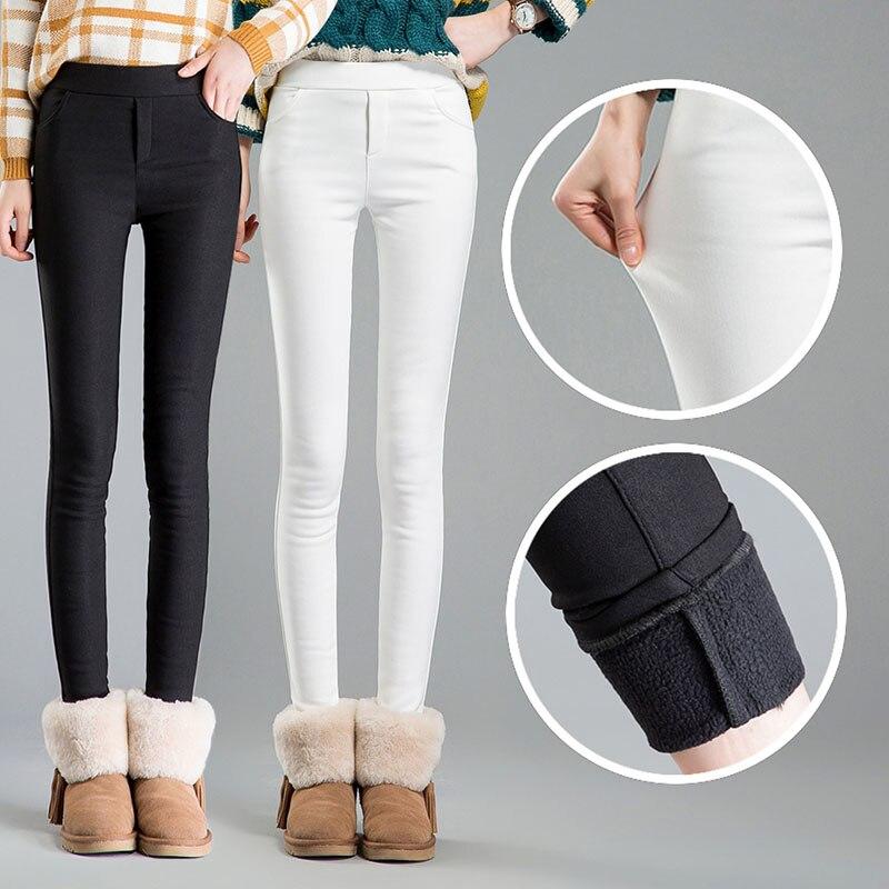 Cintura alta feminina 2019 inverno quente veludo escritório trabalho lápis calças capris plus size senhoras calças formais feminino dropshipping