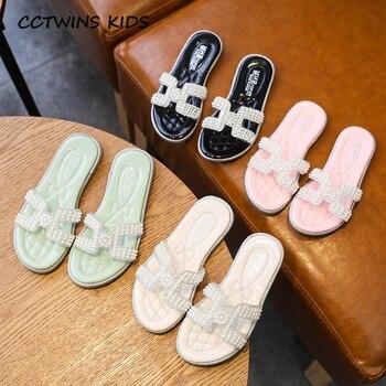 Kids Shoes 2020 Summer New Children Fashion Pearl Baby Brand Rhinestone Slipper Toddler Black Slides Girls PY-S-004