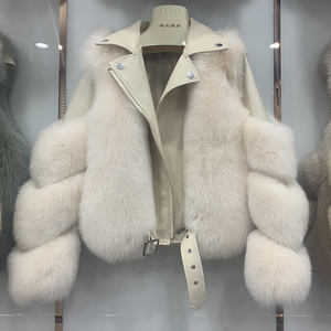 Image 3 - New Arrival Womens Fashion Fur Coats Real Full Pelt Fox Fur Outerwear Genuine Sheepskin Leather Jackets S7650