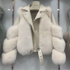 Image 3 - Yeni varış kadın moda kürk mantolar gerçek tam Pelt Fox kürk giyim hakiki koyun derisi DERİ CEKETLER S7650