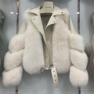 Image 3 - 새로운 도착 여자의 패션 모피 코트 진짜 전체 펠트 폭스 모피 겉옷 정품 양피 가죽 자켓 s7650