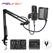 FELYBY BM1000 Professional Condenser Microphone for Computer/Laptop/PC Audio Studio Karaoke  Recording bm 800 Upgraded Mikrofon