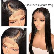 Парики из натуральных волос на кружевной основе, 4x4, перуанские парики из натуральных волос, от 10 до 24 дюймов, прямые парики из натуральных волос, быстрая, не Реми