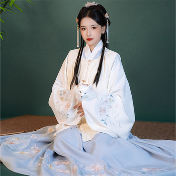 Woman Chinese Traditional Dance Costumes Hanfu Dress Embroidered Top Floral Skirt Fairy Ancient Oriental Style Ming Dynasty Set - discount item  39% OFF Stage & Dance Wear