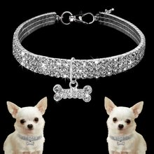 Dog Accessories For Dogs Pet Shining Diamonds Collar Dog Cat Sweet Faux Jewels Necklace Collar with Bo Pendant!(China)