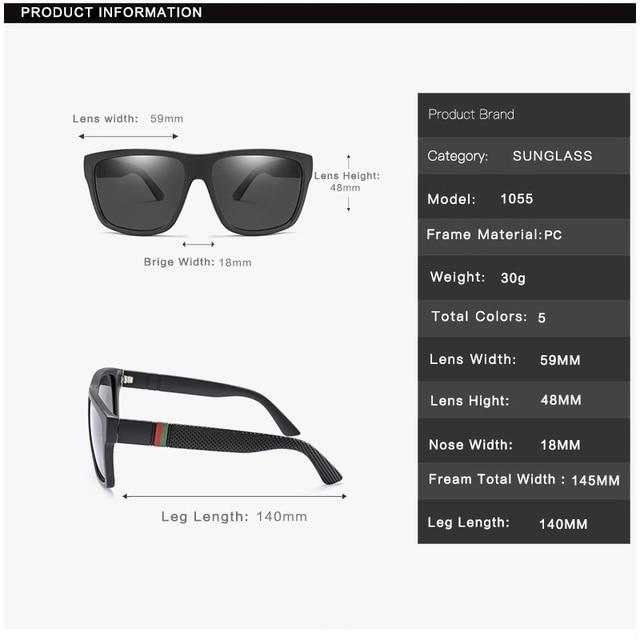 Gafas de sol polarizadas para hombre y mujer, lentes cuadrados para el sol, retro de marca famosa, unisex 5