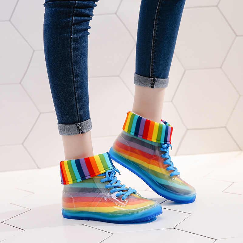 Su geçirmez Kış Ayakkabı Kadın yarım çizmeler Kadın Kışlık Botlar Bota Kadın Patik Şeffaf yağmur çizmeleri Kadın Çizmeler Botas Mujer