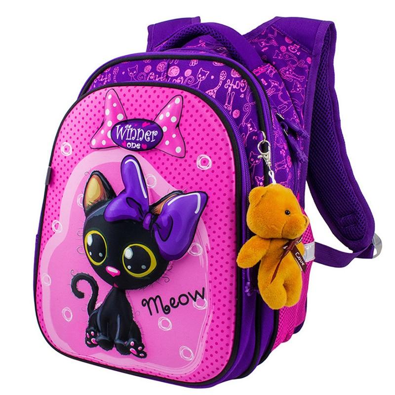 Shell Backpacks Orthopedic 3D Cartoon Children School Bag For Girls School Backpacks Primary School Students 6-9Y Kids Satchels