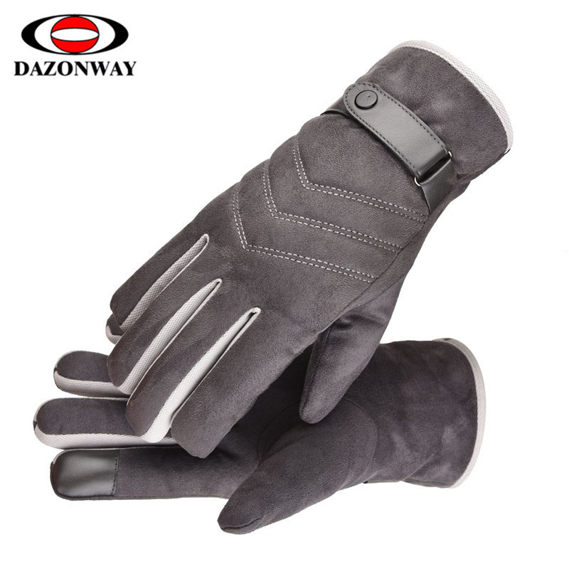One Size Winter Warm Gloves Men Ski Gloves Snowboard Gloves Motorcycle Riding Winter Touch Screen Snow Windstopper Gloves Black