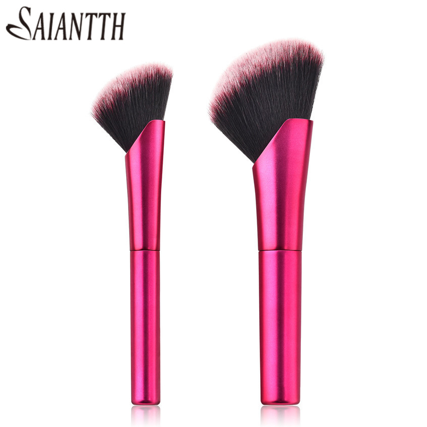 SAIANTTH New oblique head loose powder brush Rose red aluminum tube blush rouge foundation single makeup brushes Beauty tools