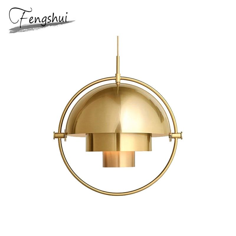 Modern Pendant Lights Personality Restaurant Golden Hanging Lamp Bedroom Semicircle Bedside Lustre Suspension Light Fixtures