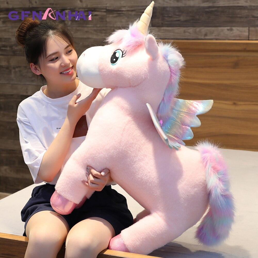 Fantastic Glow Rainbow Wings Unicorns Plush Toy Giant Unicorn Toy Stuffed Animals Doll Fluffy Hair Fly Horse Toys For Children