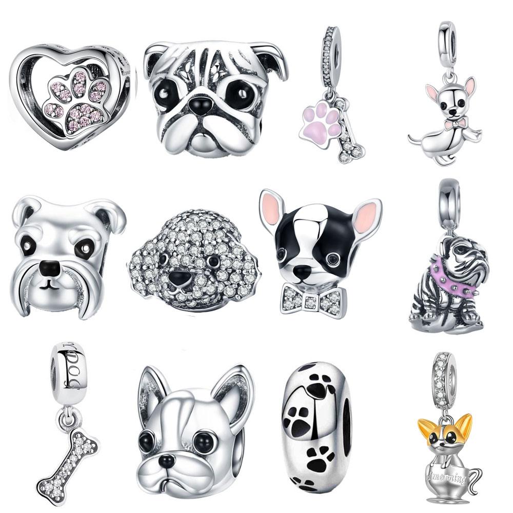 BISAER Charm Bracelet Poodle-Puppy French-Bulldog-Beads 925-Sterling-Silver 925 Original