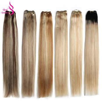 Real Beauty Blond Straight Hair Bundles Brazilian Hair Weave Bundles 18