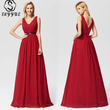 Skyyue Evening Dress Double V-neck Robe De Soiree 2019 Sleeveless Sequin Women Party Dresses Solid Elegant Formal Gowns C478