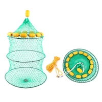 Outdoor 3 layer Buoyancy Portable Foldable Shrimp Fishing Net Fish Cage Live Bait Fishing Net With Floating Ball Accessories