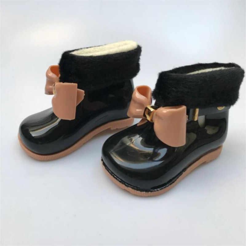 Baby meisje regen laarzen baby kinderen snowboots plus fluweel warme boog regen laarzen mode rubber schoenen kinderen jelly schoenen