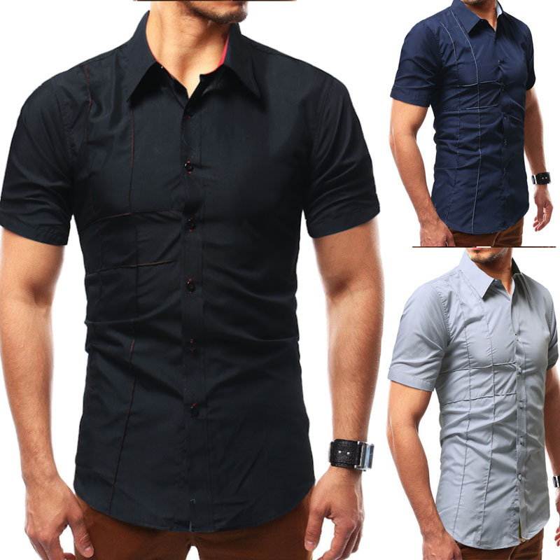 2018 AliExpress Men # Embroidered Short Sleeve Solid Color Shirt Da62