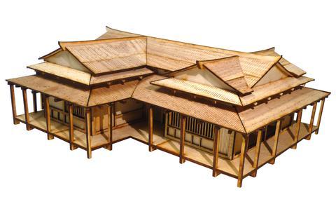 Bricolage jouets Geisha maison tablettes Miniature en bois scène modèle avec 28mm Ratio de 1:56 pour les états en guerre japonais taille 31*26*12cm