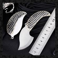 Nowości liść ze stali nierdzewnej Mini kieszeń składany nóż CS Go noże narzędzie noże myśliwskie breloczek Survival dla mężczyzny kobiety tanie tanio ELEDEFENSE Metalworking STAINLESS STEEL Camping Outdoor EDC Knife 2020 Dropshipping