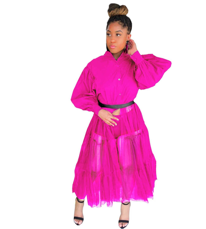 CN975 Fashion Shirt Style Button Gauze Dress Ladies Long Street Solid Color Dress Casual Home Commuting Dress Female Wholesale 13