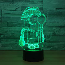 Kartun Lucu 3D Minion LED Malam Lampu Meja Lampu Meja 7 Warna Touch Switch Colorful untuk Anak Bayi Lahir Christma hadiah(China)