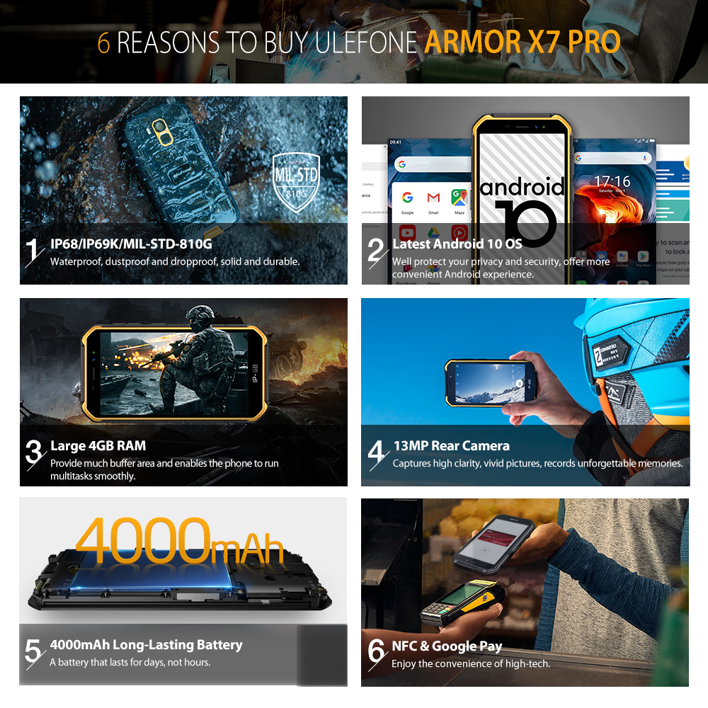 Ulefone Armor X7 Pro Android10 Rugged Phone 4GB RAM Smartphone Waterproof Mobile Phone Cell Phone ip68 NFC 4G LTE  2.4G/5G WLAN 2