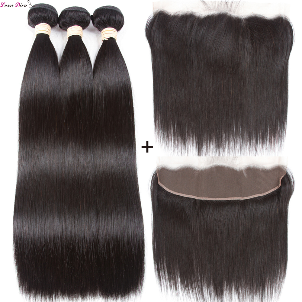 Luxediva Brazilian Straight Hair Bundles With Frontal Closure Human Hair Weave Bundles With Frontal Non-Remy Hair Extensions