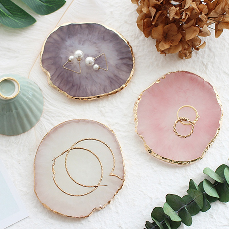 Circular Resin Agate Plate Jewelry Display Board Decorative Stand Nail Painting Palette Photography Props Fashion Decoration
