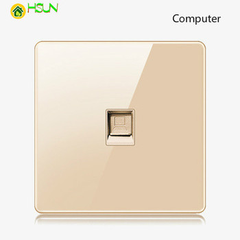High-grade 1 2 3 4 gang 1 2 way big panel Golden switch socket Type 86 Wall 2.5D Cambered Mirror Toughened glass Computer TV 17