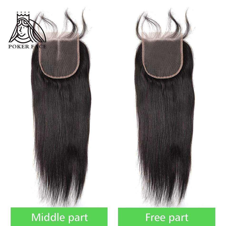 Покерное лицо прямые 4X4 закрытие шнурка 100% человеческие волосы индийская средняя часть свободная часть 8-20 дюймов Реми Волосы Быстрая доста...