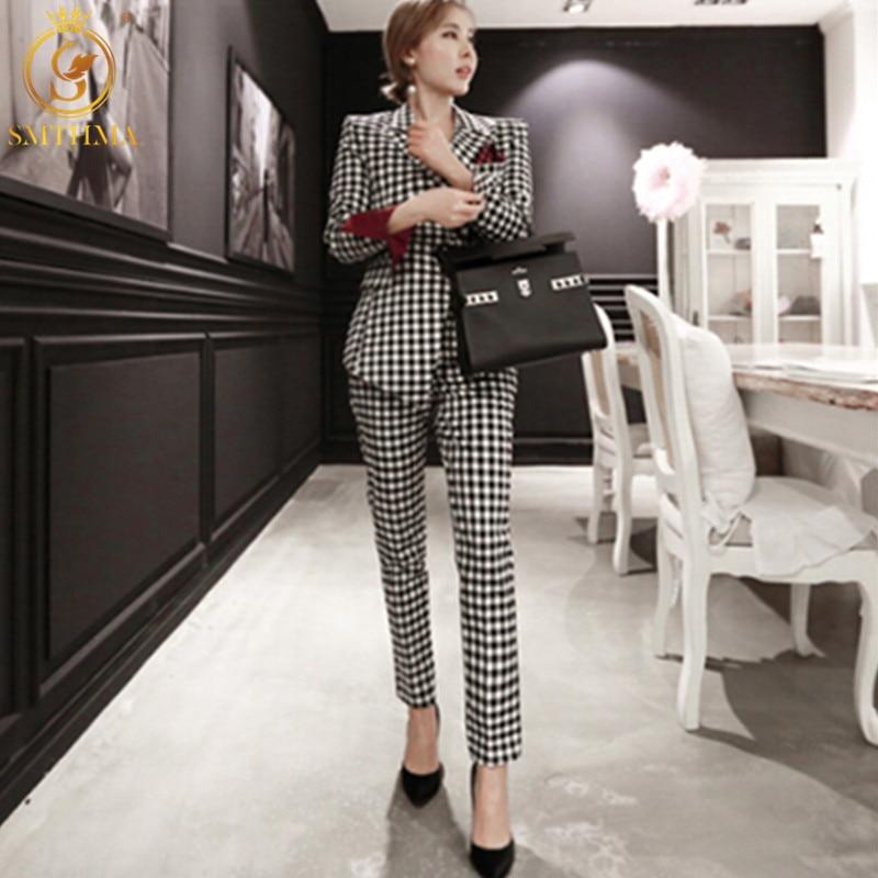 SMTHMA 2019 Winter Business Women 2 Piece Suit Set Long-sleeved Asymmetric Plaid Blazer And Pant Office Lady Suits