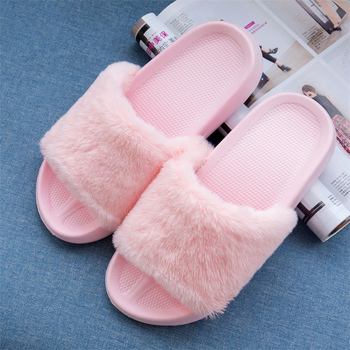 Warm Non-slip LightWeight Soft Solid Ins Cute Home Fur Slides Spring Pink Furry Ladies Platform Flat Shoes Plush Women Slippers - discount item  49% OFF Women's Shoes