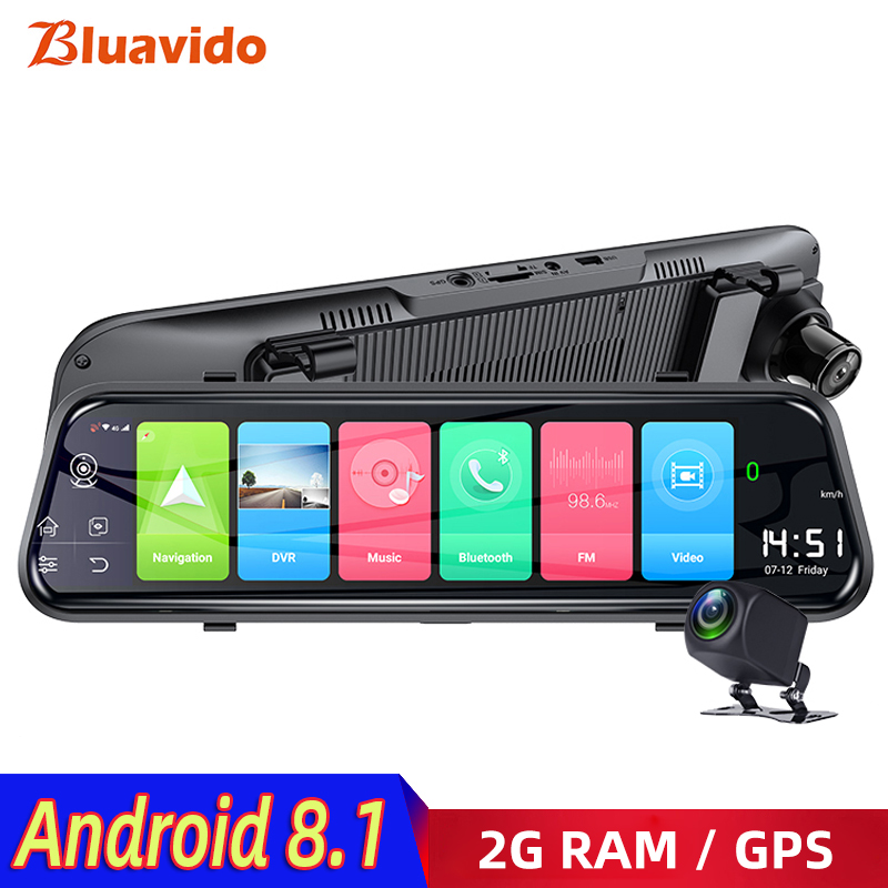 Bluavido 4G Android 8.1 Car Mirror Video Recorder GPS Navigation ADAS Rear View Mirror Camera FHD 1080P Dual Lens Dash Cam DVRs