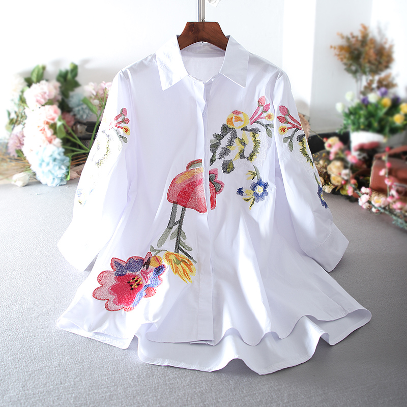 SuperAen 2020 Spring And Autumn Korean Style Women Shirts Cotton Casual Wild Pluz Size Casual Embroidery Three Quarter Sleeve