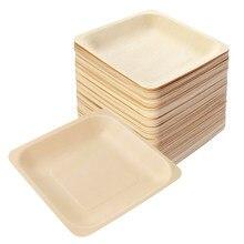 ROSENICE-platos cuadrados de madera desechables, vajilla para fiesta, boda, restaurante, Picnic, cumpleaños, 100x140mm, A50, 140 Uds.