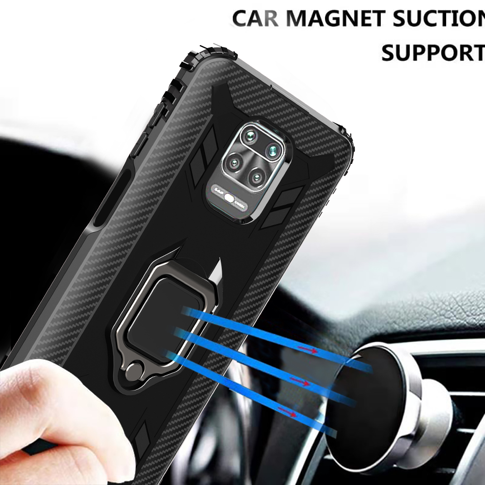 For XiaoMi Redmi Note 9S 9 Pro Max Case, Anti-shock case with 360 Degree Rotation Ring Holder&Car Magnet Suction Support