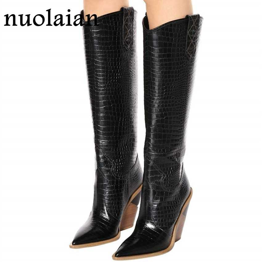 9.5CM Womens Thigh High Boots Lady Snow Fur Boot Woman Over Knee Winter Boots Ladies High Heel Shoes Women Shoe Leather Boots