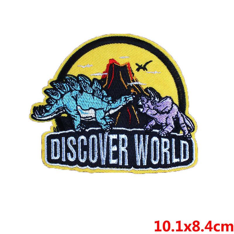 Żelazko na plastry na odzież jurajski Park naklejki tkaniny dinozaur paski na jeansowa kurtka plecak odznaka haft na ubrania