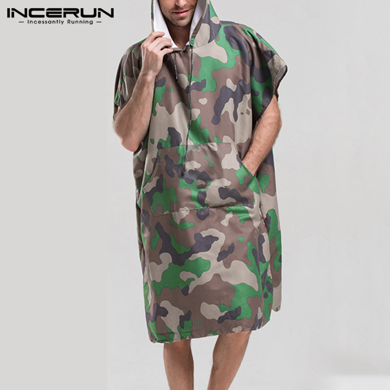 INCERUN Men Bathrobes Camouflage Print Quick Dry Short Sleeve Hooded Breathable Pockets Robes Men Homewear Beach Ladies Bathrobe
