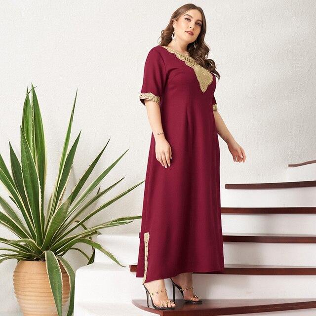 Women's Plus Size Dress Vintage Lace Patchwork Split Hem Solid Half Sleeve Maxi Party Prom Long Maxi Red Suelto Dresses 4