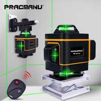 PRACMANU 16 Linee 4D Verde Level Laser Orizzontale E Verticale Linee Incrociate Con Auto Auto-Livellamento, interni ed Esterni