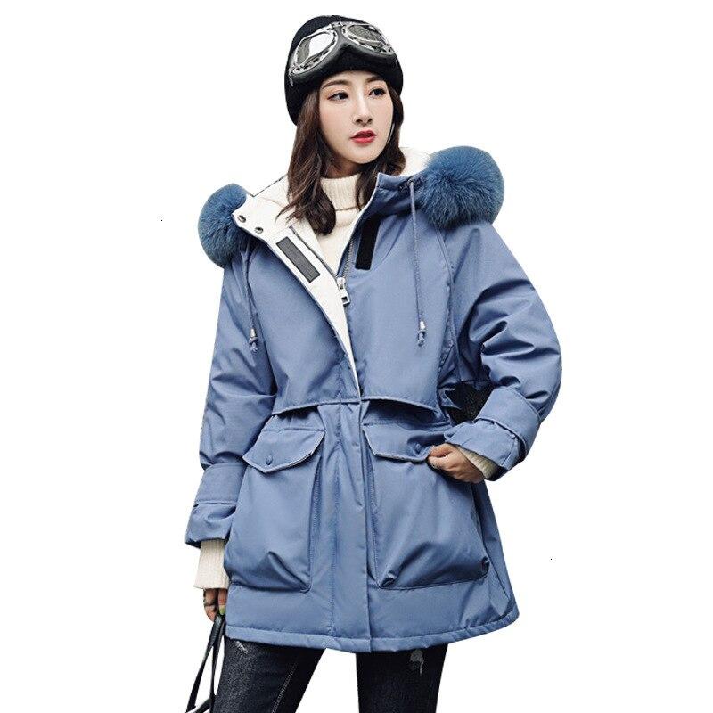 Fur Collar Hood Long Down Parka Warm Feather Puffer Jacket Jackets For Winter Coat Female Women Plus Size Harajuku Outerwear
