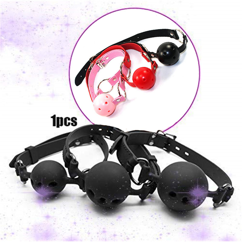 Erotic Accessories Sexy 4 Colors Leather Silicone Gag Ball Open Mouth Adult Sexual Games Bdsm Sex Toys For Woman Slave Bondage